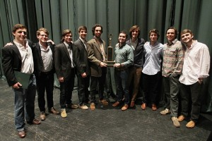 The representatives of Kappa Omega Tau and Kappa Sigma stand with their trophy after they tied for first place at the end of the 2013 All-University Sing on Saturday evening, Feb. 23, 2013, in Waco Hall. Taken by Matt Hellman